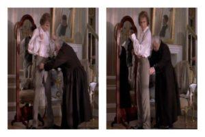 Dwa kadry z filmu. Chopin prezentuje spodnie z przodu i z tyłu.